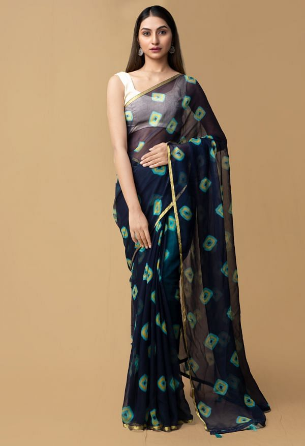 Online Shopping for Navy Blue Pure Tie and Dye Bandhani Chiffon  Saree with Bandhani from Punjab at Unnatisilks.comIndia