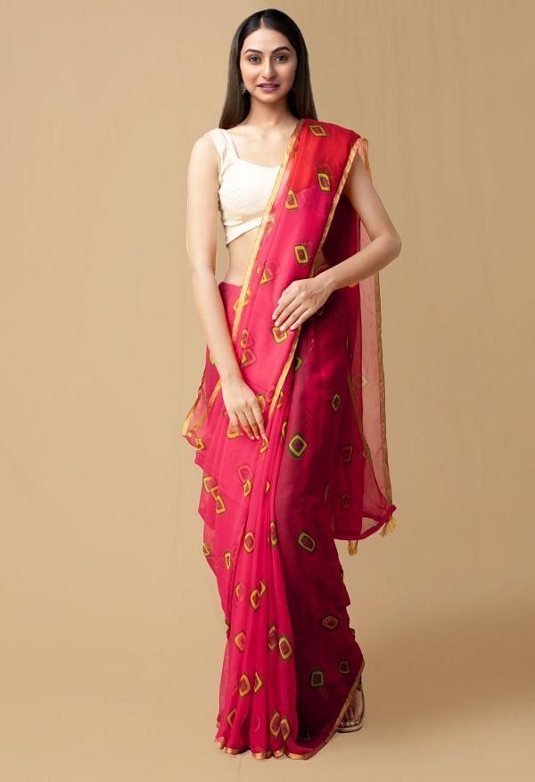 Online Shopping for Red PureTie and Dye Bandhani Chiffon  Saree with Bandhani from Punjab at Unnatisilks.comIndia
