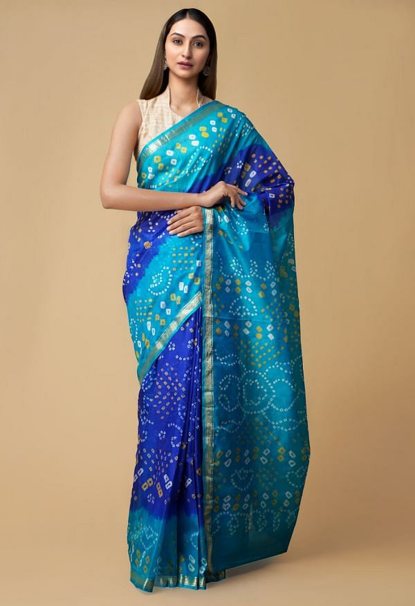 Online Shopping for Blue Pure Tie and Dye Bandhani  Silk Saree with Bandhani from Punjab at Unnatisilks.comIndia