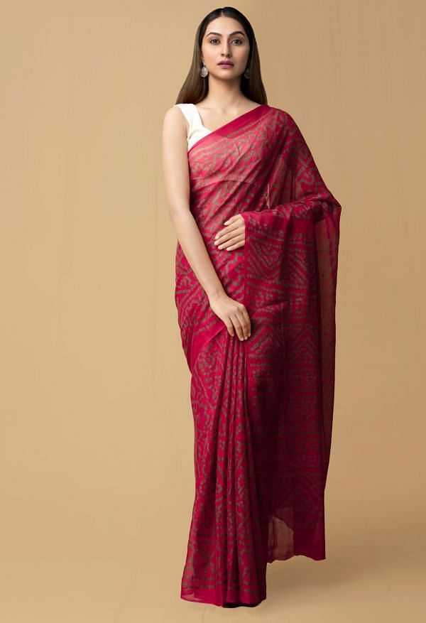 Online Shopping for Red Pure Bandhani Chiffon Georgette  Saree with Bandhani from Punjab at Unnatisilks.comIndia