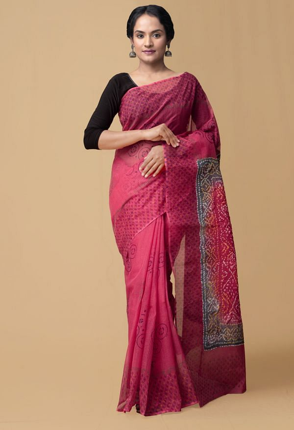 Online Shopping for Pink Pure Bandhani Kota Cotton Saree with Bandhani from Punjab at Unnatisilks.comIndia