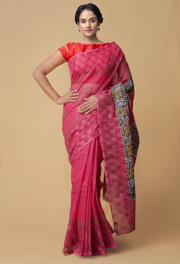 Online Shopping for Pink Pure Bandhani Kota Cotton Saree with Bandhani from Rajasthan at Unnatisilks.comIndia