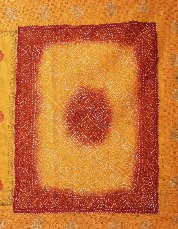 Online Shopping for Orange Pure Bandhani Kota Cotton Saree with Bandhani from Rajasthan at Unnatisilks.comIndia