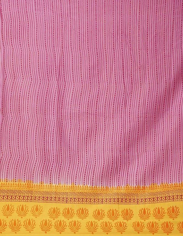 Pink Pure Hand Block Printed Mulmul Cotton Saree