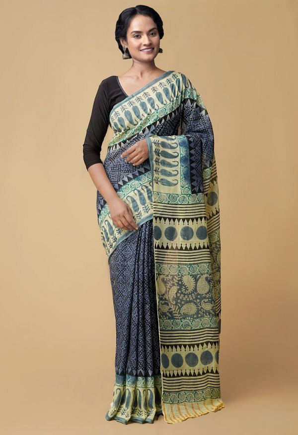 Grey Pure Hand Block Printed Mulmul Cotton Saree