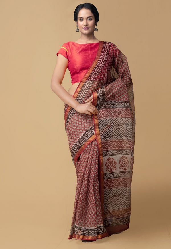 Online Shopping for Red Pure Bagru Printed Kota Cotton Saree with Bagru from Rajasthan at Unnatisilks.comIndia