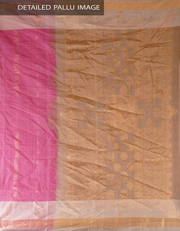 UNM4701-Pink Pure Handloom Uppada Cotton Saree