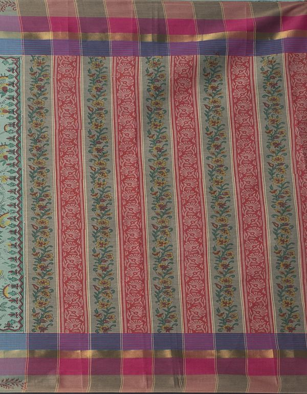 Online Shopping for Green Pure Vrinda Mangalagiri Cotton Saree with Hand Block Prints from Andhra Pradesh at Unnatisilks.comIndia
