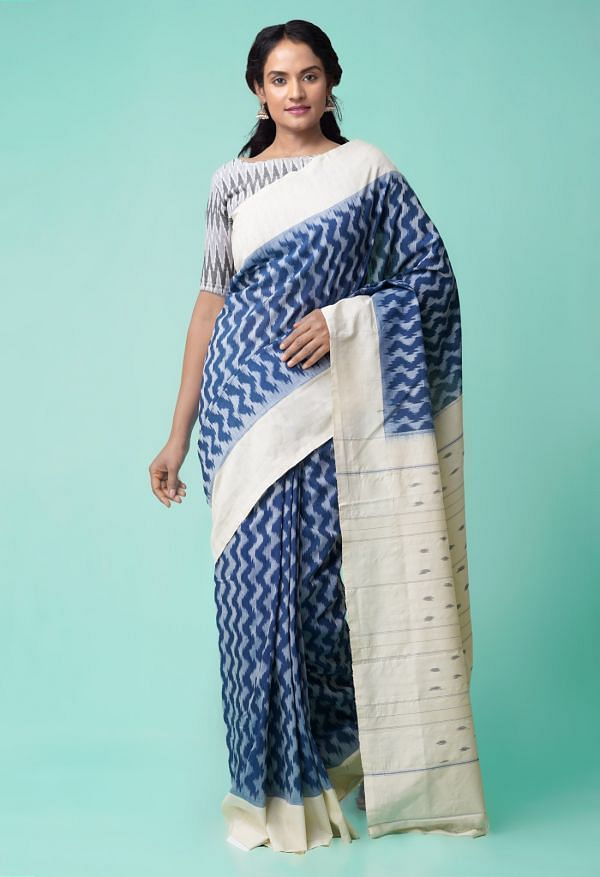Online Shopping for Blue-Cream Pure Handloom Pochampally Ikat Cotton Saree with Ikat from Andhra Pradesh at Unnatisilks.comIndia