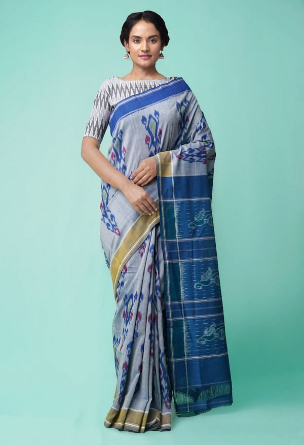 Online Shopping for Grey Pure Handloom Pochampally Ikat Cotton Saree with Ikat from Andhra Pradesh at Unnatisilks.comIndia