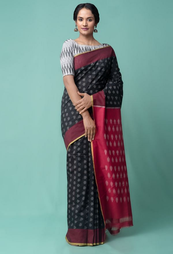 Black Pure Handcrafted Pochampally Ikat Cotton Saree