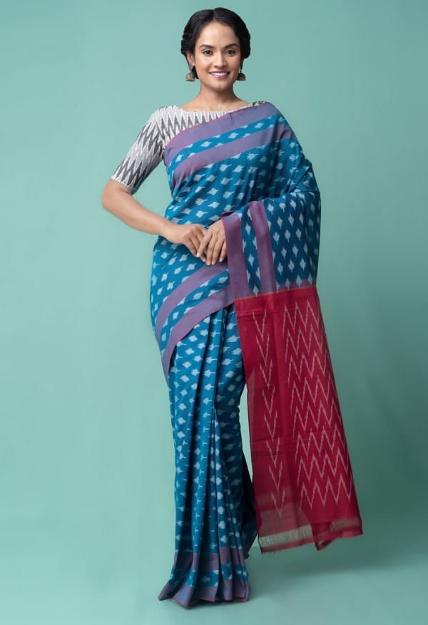 Online Shopping for Blue Pure Handcrafted Pochampally Ikat Cotton Saree with Ikat from Andhra Pradesh at Unnatisilks.comIndia
