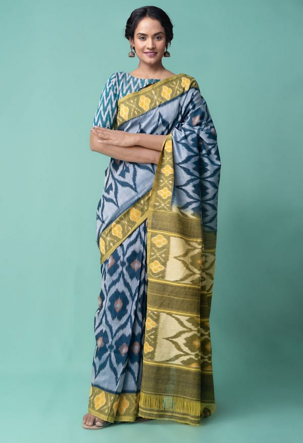Online Shopping for Blue Pure Handloom Pochampally Ikat Cotton Saree with Ikat from Andhra Pradesh at Unnatisilks.comIndia