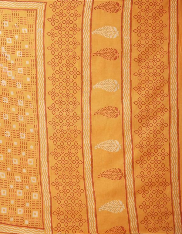 Online Shopping for Orange Pure Dabu Printed Kota Cotton Saree with Bagru from Rajasthan at Unnatisilks.comIndia