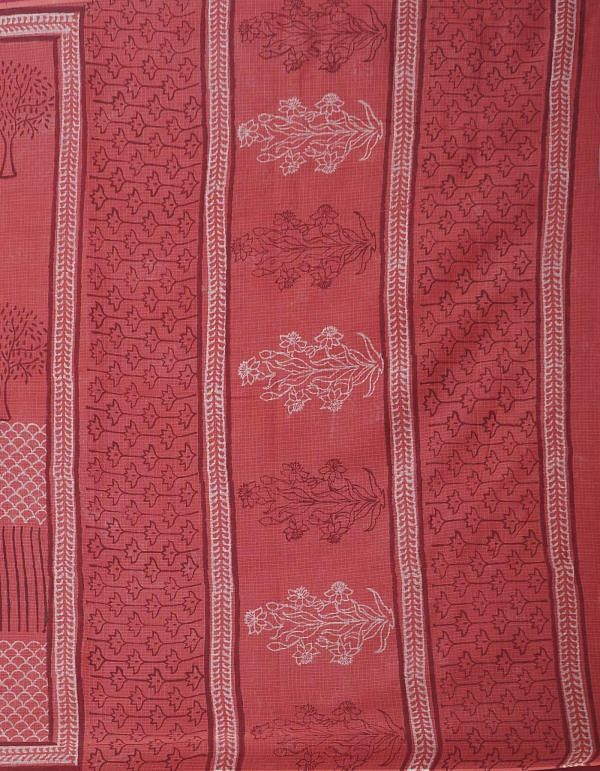 Online Shopping for Red Pure Dabu Printed Kota Cotton Saree with Dabu from Rajasthan at Unnatisilks.comIndia