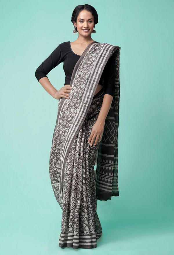 Online Shopping for Grey Pure Dabu Printed Kota Cotton Saree with Dabu from Rajasthan at Unnatisilks.comIndia
