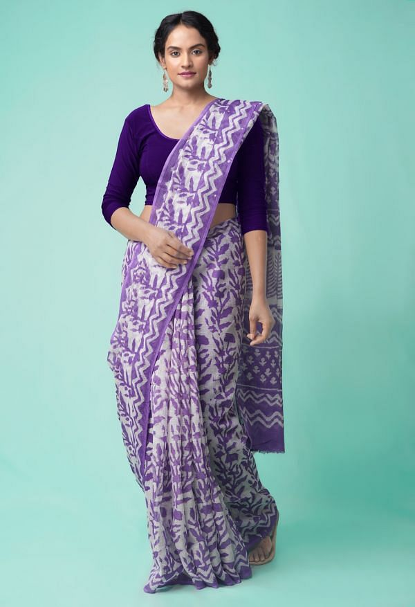 Online Shopping for Violet Pure Dabu Printed Kota Cotton Saree with Dabu from Rajasthan at Unnatisilks.comIndia