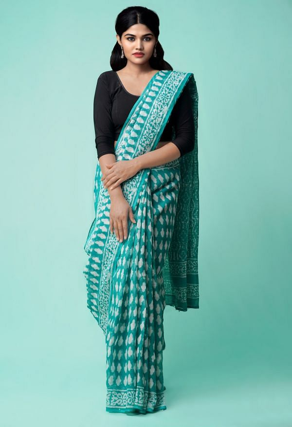 Online Shopping for Turquoise Blue Pure Dabu Printed Kota Cotton Saree with Dabu from Rajasthan at Unnatisilks.comIndia