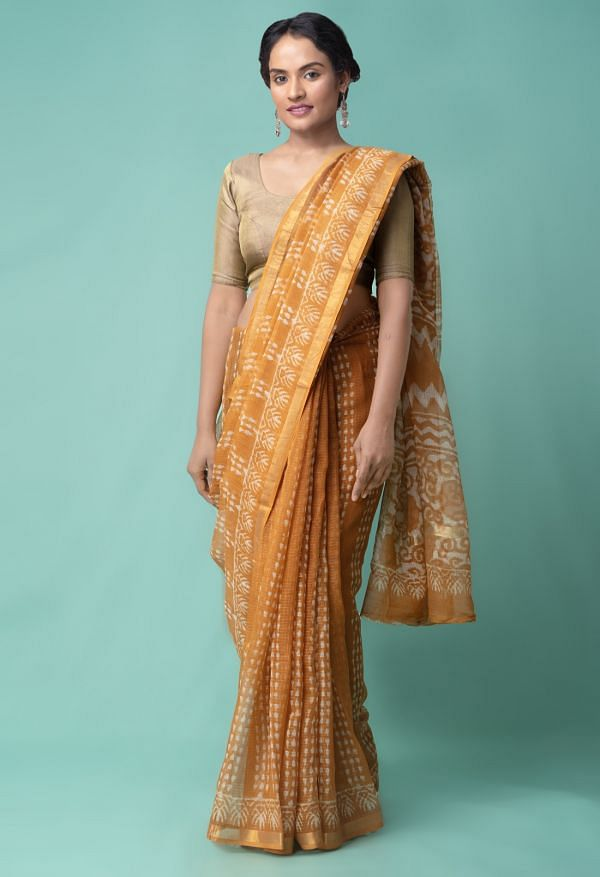 Online Shopping for Orange Pure Dabu Printed Kota Cotton Saree with Dabu from Rajasthan at Unnatisilks.comIndia