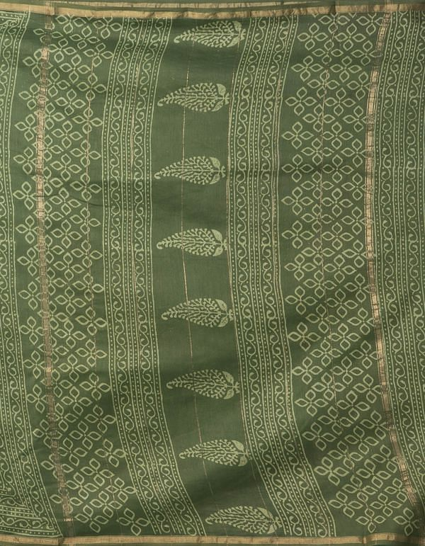 Online Shopping for Mehandi Green Pure Organic-Dyed Chanderi  Saree with Dabu from Rajasthan at Unnatisilks.comIndia