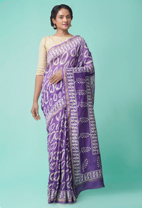 Online Shopping for Violet Pure Organic-Dyed Chanderi  Saree with Dabu from Rajasthan at Unnatisilks.comIndia