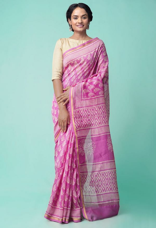 Online Shopping for Pink Pure Organic-Dyed Chanderi  Saree with Dabu from Rajasthan at Unnatisilks.comIndia