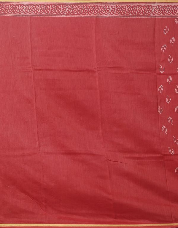 Online Shopping for Red Pure Organic-Dyed Chanderi  Saree with Dabu from Rajasthan at Unnatisilks.comIndia