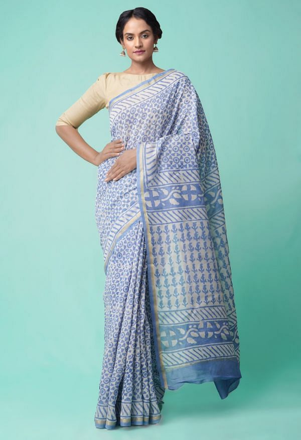 Online Shopping for Blue Pure Organic-Dyed Chanderi  Saree with Dabu from Rajasthan at Unnatisilks.comIndia