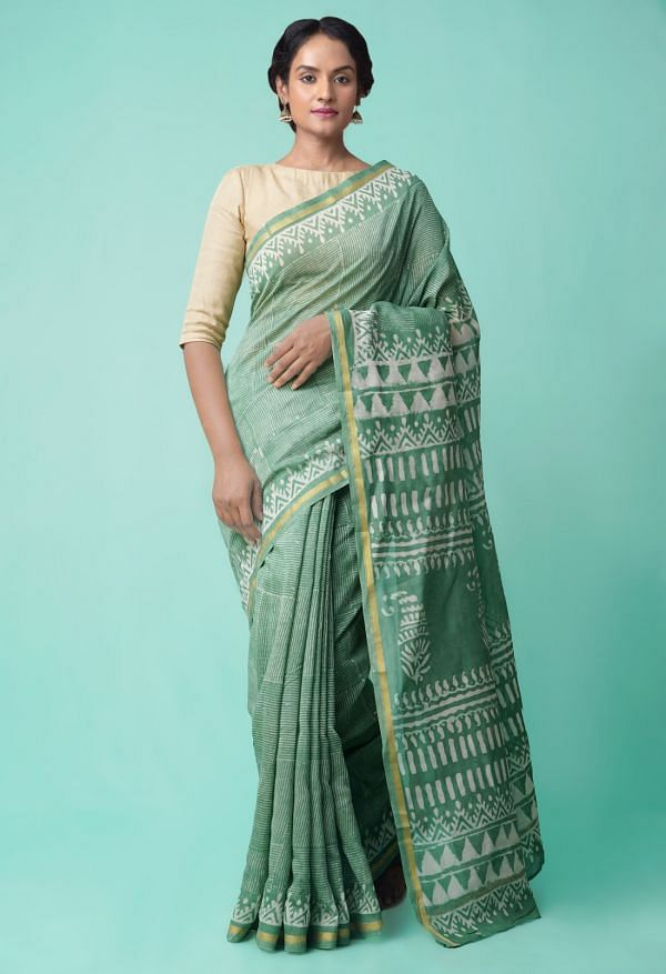 Online Shopping for Green Pure Organic-Dyed Chanderi  Saree with Dabu from Rajasthan at Unnatisilks.comIndia