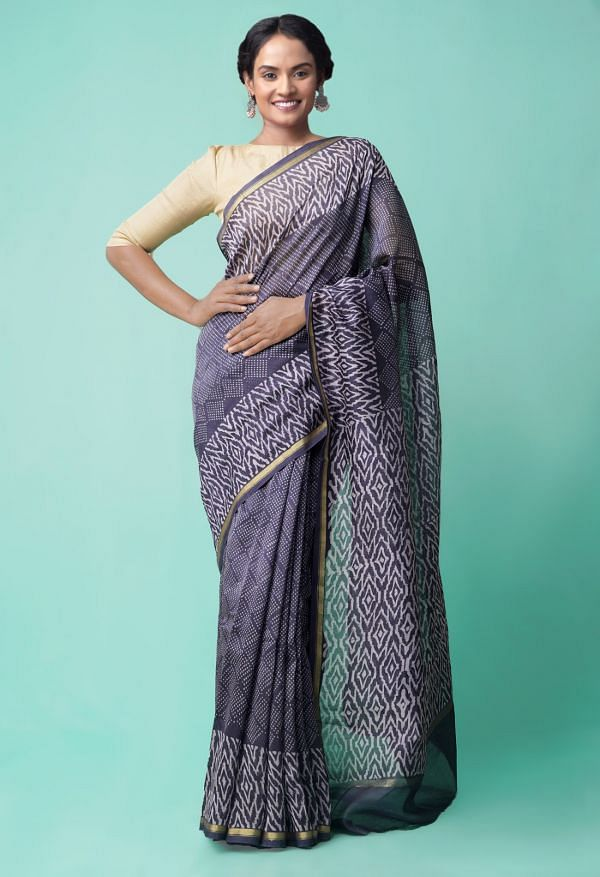 Online Shopping for Grey Pure Organic-Dyed Chanderi  Saree with Dabu from Rajasthan at Unnatisilks.comIndia