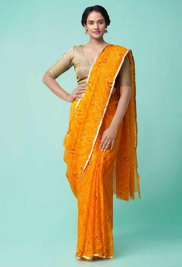 Online Shopping for Orange  Bollywood Chiffon Floral  Saree with Fancy/Ethnic Prints from Madhya Pradesh at Unnatisilks.comIndia