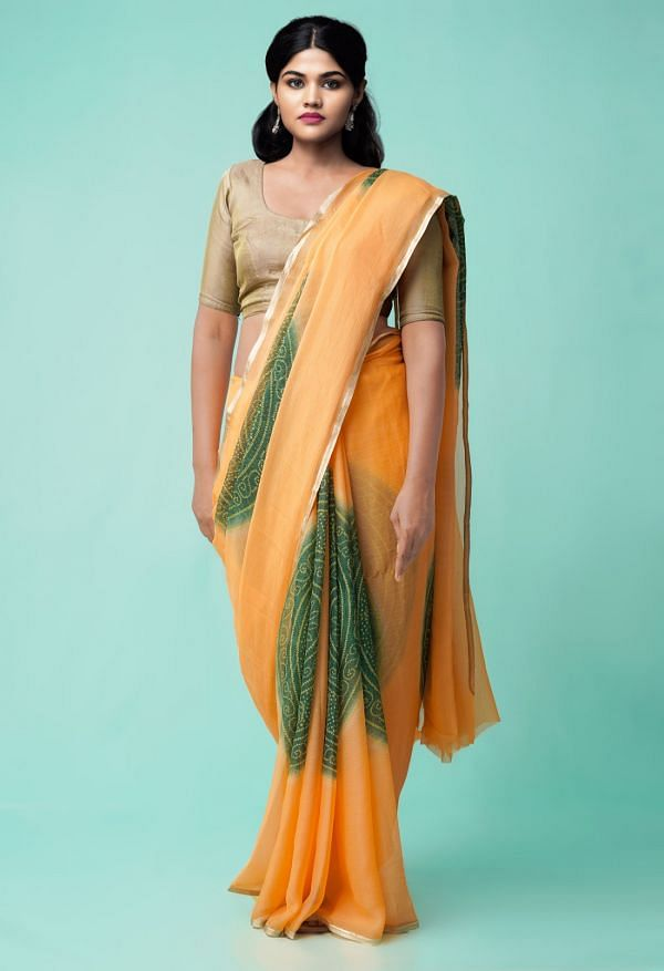 Online Shopping for Peach  Bollywood Chiffon Floral  Saree with Fancy/Ethnic Prints from Madhya Pradesh at Unnatisilks.comIndia