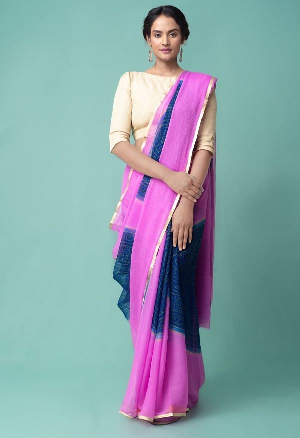Online Shopping for Pink-Blue  Bollywood Chiffon Floral  Saree with Fancy/Ethnic Prints from Punjab at Unnatisilks.comIndia