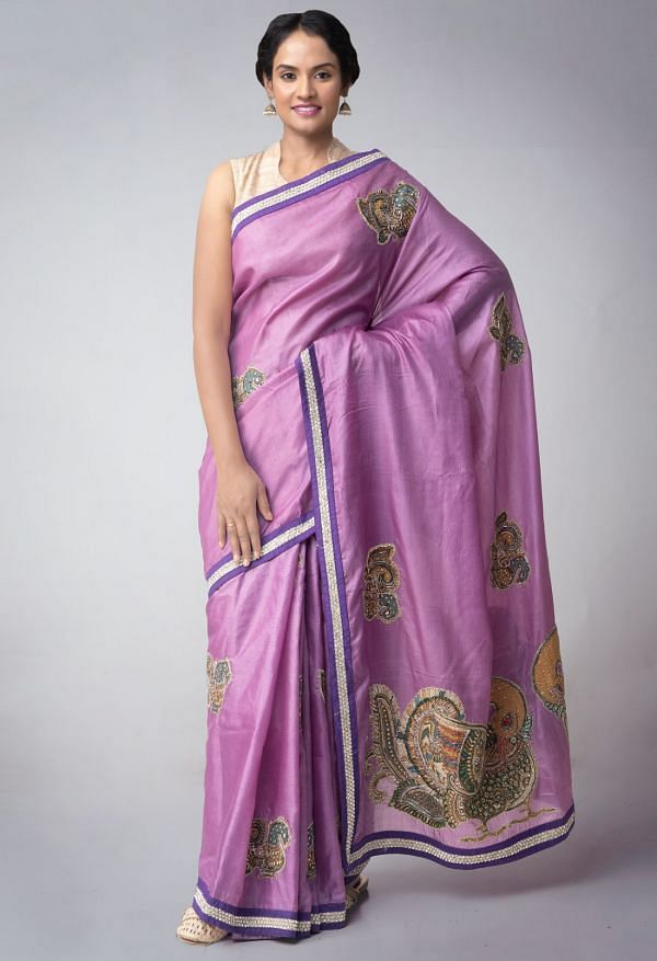 Online Shopping for Violet Royal Pure Handloom Kerala Tussar Silk Hand Woven & Hand Embroiderd Saree with Kalamkari Embroidery Work, Applique Work from Kerala at Unnatisilks.comIndia