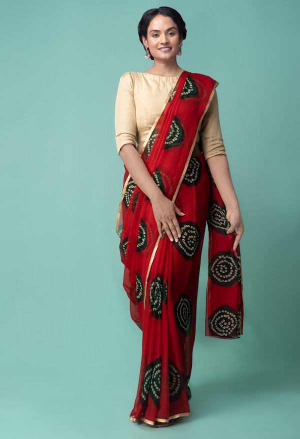 Online Shopping for Red  Bollywood Chiffon Floral  Saree with Fancy/Ethnic Prints from Punjab at Unnatisilks.comIndia
