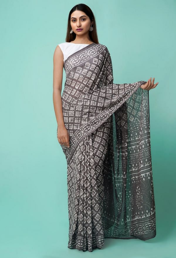 Online Shopping for Grey Pure Dabu Printed Mulmul Cotton Saree with Dabu from Rajasthan at Unnatisilks.comIndia