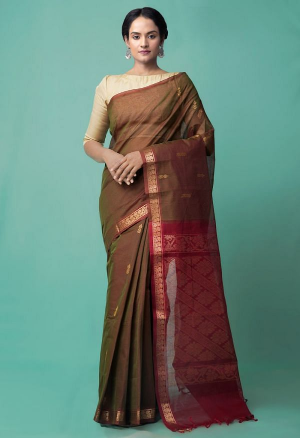 Online Shopping for Green-Red Pure Handloom Gadwal Cotton Saree with Weaving from Andhra Pradesh at Unnatisilks.comIndia