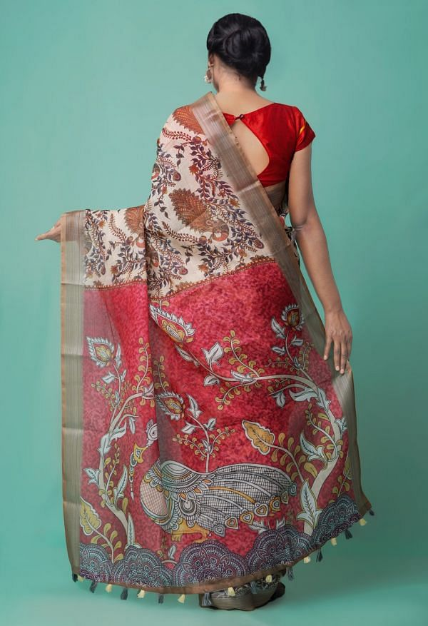 Cream  Kalamkari Linen  Saree