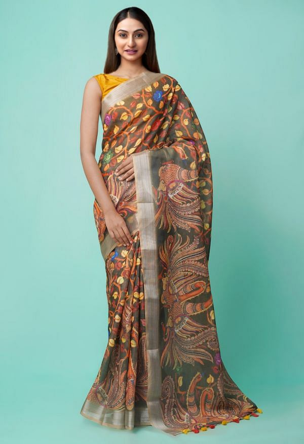 Grey  Digital Printed Linen  Saree