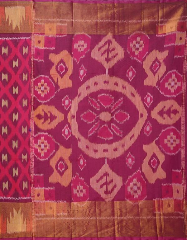 Online Shopping for Pink Pure Handloom Ikat Pochampally  Saree with Ikat Weaving from Andhra Pradesh at Unnatisilks.comIndia