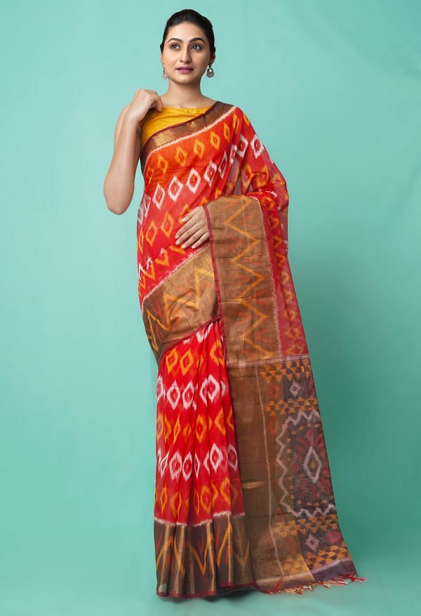 Online Shopping for Red Pure Handloom Ikat Pochampally  Saree with Ikat Weaving from Andhra Pradesh at Unnatisilks.comIndia