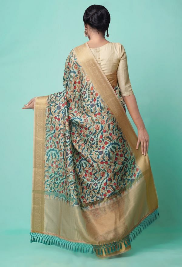 Green  Kalamkari Chanderi Sico Saree