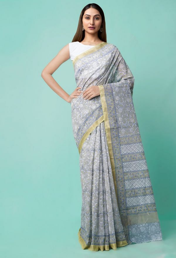 Online Shopping for Grey  Block Printed Chanderi Sico Saree with Block Prints from Madhya Pradesh at Unnatisilks.comIndia