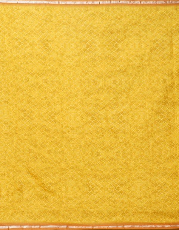 Yellow Pure Floral Chanderi Sico Saree