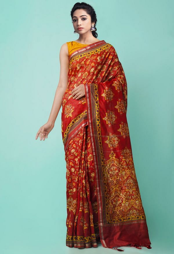 Red Pure Floral Chanderi Sico Saree