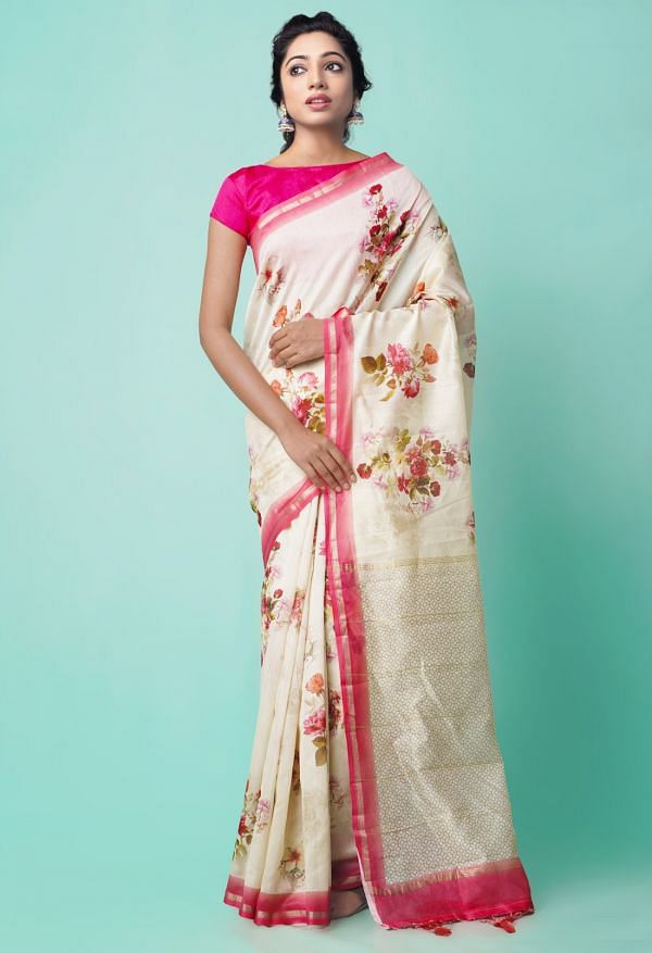 Online Shopping for Ivory Pure Floral Chanderi Sico Saree with Fancy/Ethnic Prints from Madhya Pradesh at Unnatisilks.comIndia