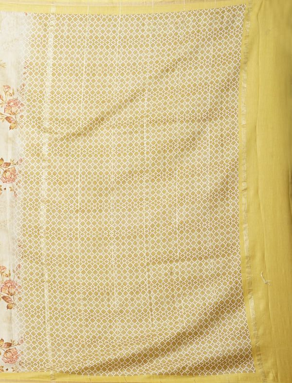 Online Shopping for Yellow Pure Floral Chanderi Sico Saree with Fancy/Ethnic Prints from Madhya Pradesh at Unnatisilks.comIndia