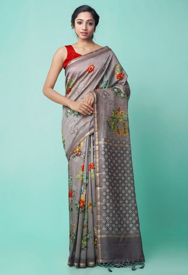 Grey Pure Floral Chanderi Sico Saree