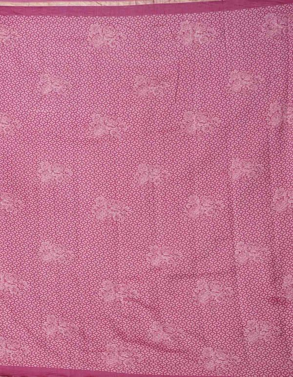 Online Shopping for Pink Pure Floral Chanderi Sico Saree with Fancy/Ethnic Prints from Madhya Pradesh at Unnatisilks.comIndia