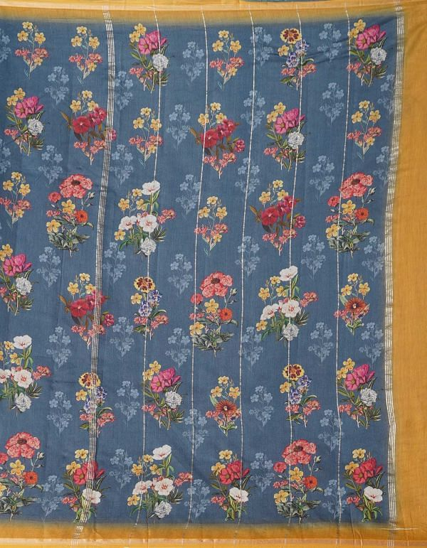 Online Shopping for Blue Pure Floral Chanderi Sico Saree with Fancy/Ethnic Prints from Madhya Pradesh at Unnatisilks.comIndia